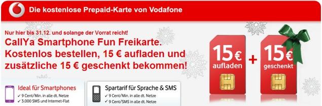 Kostenlose SIM Karte von Vodafone CallYa (CallYa Freikarte)