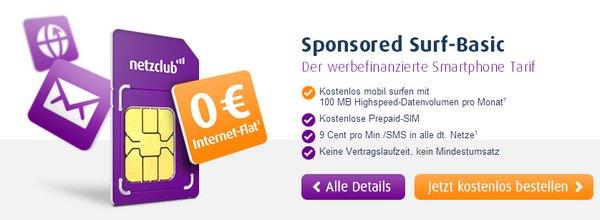 netzclub Prepaid-Karte gratis